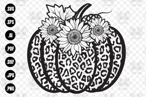 Print on Demand: Floral Pumpkin and Leopard SVG File, Graphic Crafts By 99 Siam Vector