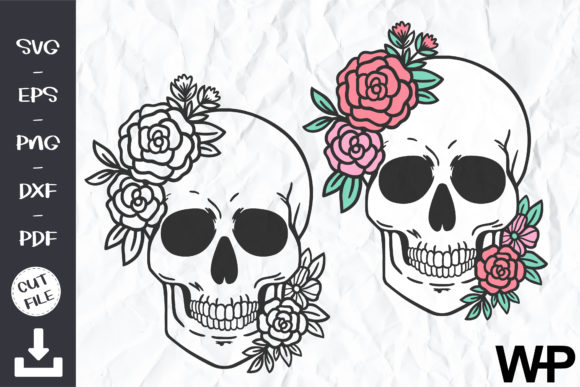 Floral Skull SVG, Floral Skull Clip Art Graphic Objects By wanchana365