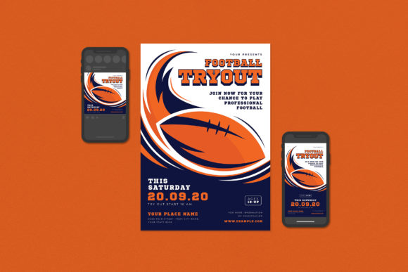 Football Try out Flyer Set Graphic Print Templates By ihsanshihab.design