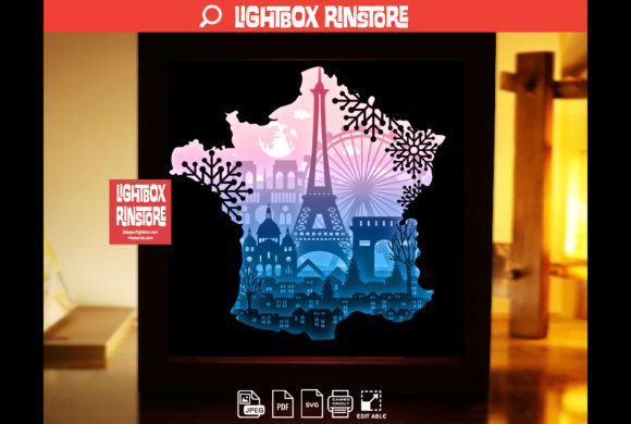 France Paris 3D Paper Cut Light Box Graphic 3D Shadow Box By lightbox.rinstore
