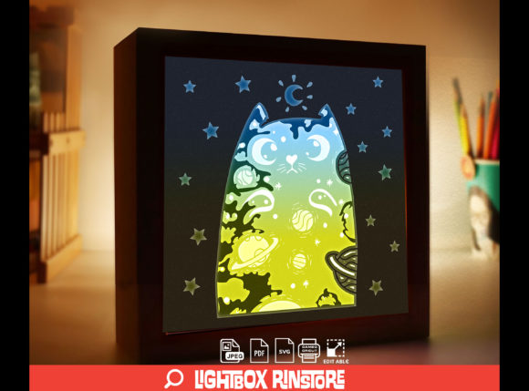 Galaxy Cat 3D Paper Cut Lightbox Graphic 3D Shadow Box By lightbox.rinstore