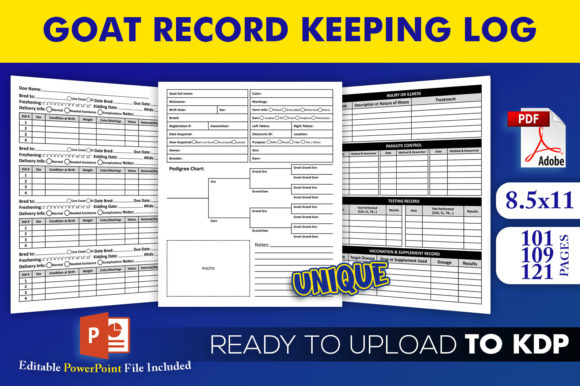 Print on Demand: Goat Record Keeping Log - KDP Interior Graphic KDP Interiors By Beast Designer