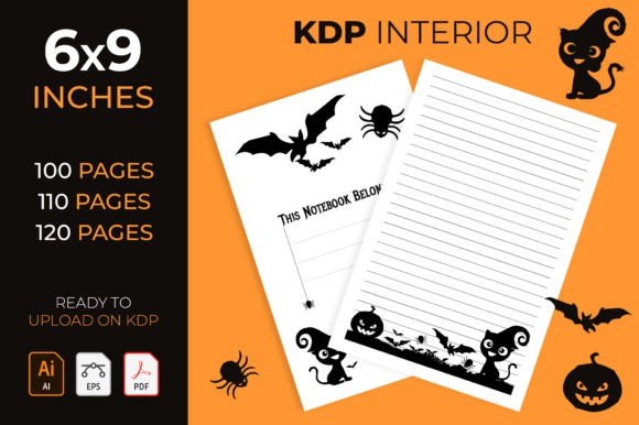 Halloween Lined Journal Interior for Kdp Graphic KDP Interiors By medelwardi
