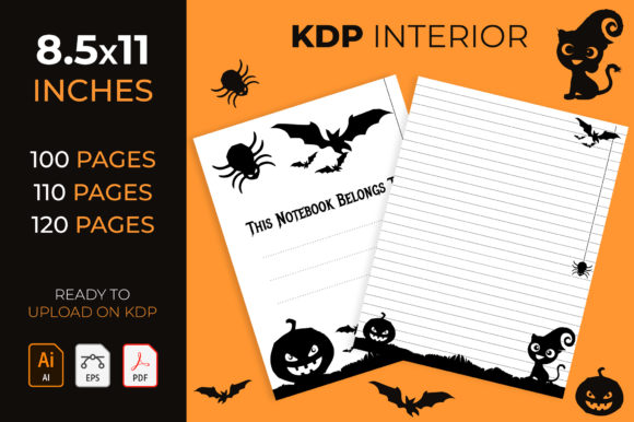 Halloween Lined Notebook- Kdp Interior Graphic KDP Interiors By medelwardi