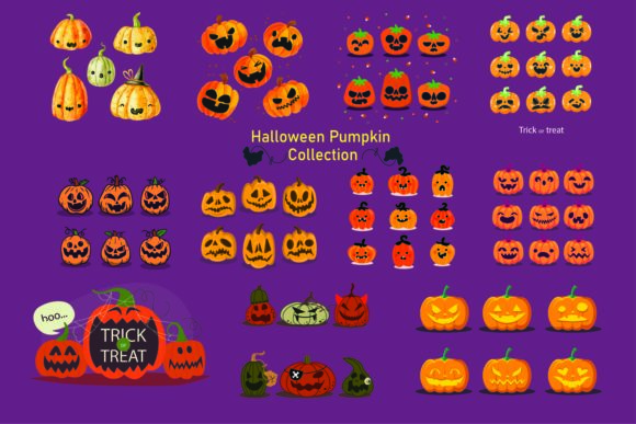 Print on Demand: Halloween Pumpkin Cliparts Graphic Illustrations By BOdesign
