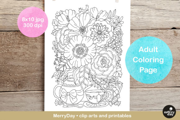 Hand Drawn Flowers Adult Coloring Page Graphic Illustrations By MerryDay