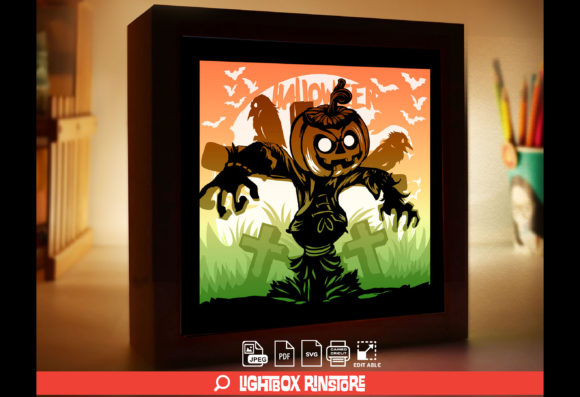 Happy Halloween 3D Papercut Lightbox Graphic 3D Shadow Box By lightbox.rinstore