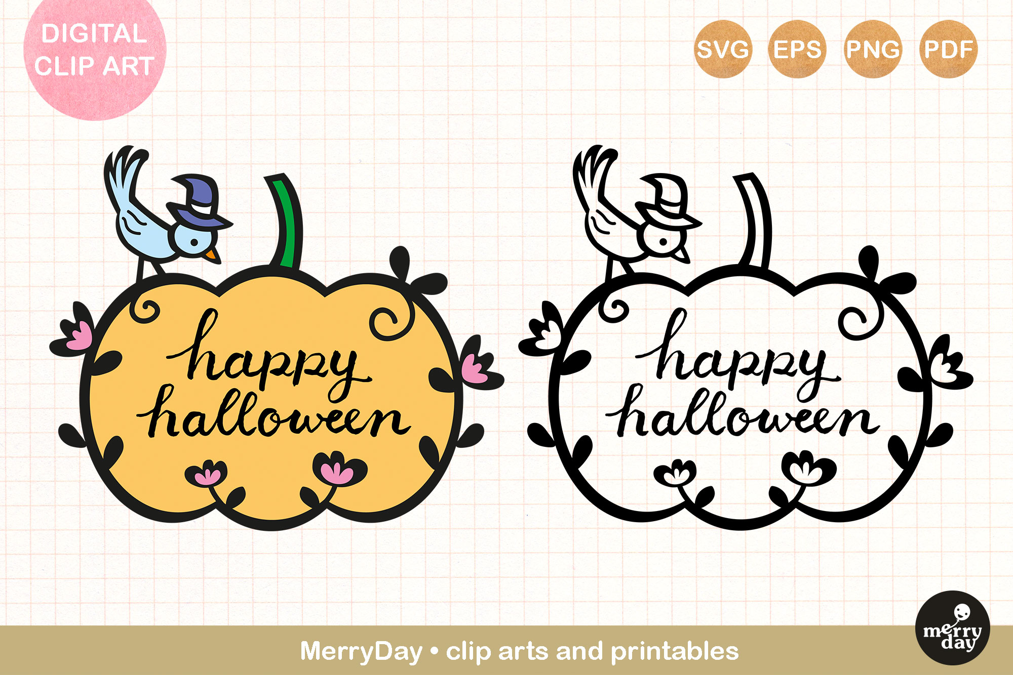 Happy Halloween Lettering In Pumpkin Graphic By Merryday Creative Fabrica