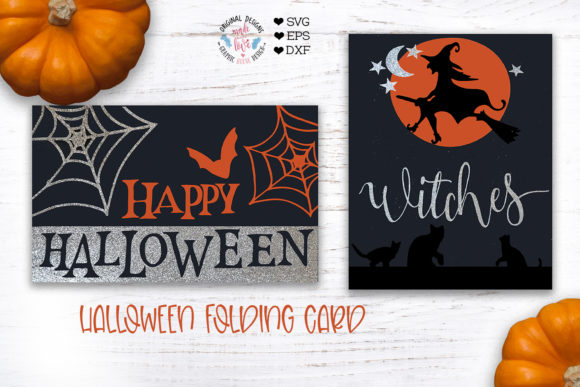 Happy Halloween Witches - Halloween Fold Graphic Crafts By GraphicHouseDesign