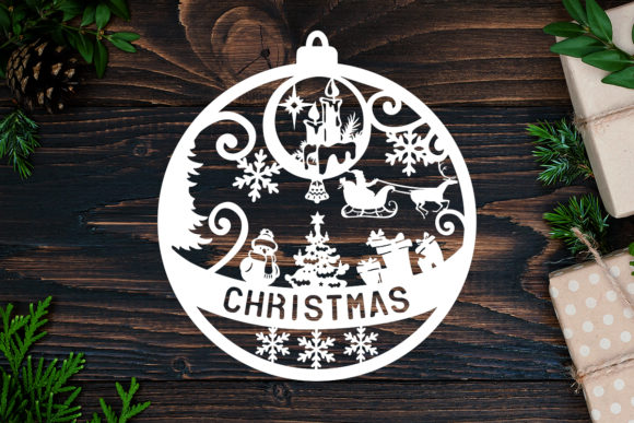 Kirigami Christmas 1 Light Box Graphic 3D Shadow Box By LightBoxGoodMan