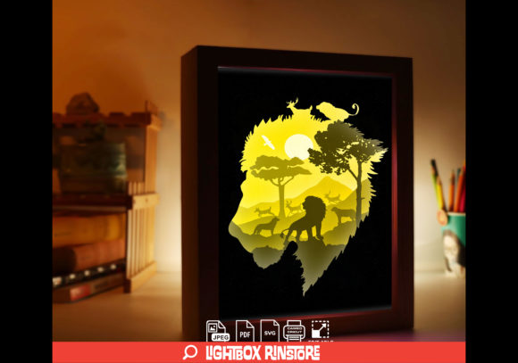 Lion King 3D Paper Cut Lightbox Graphic 3D Shadow Box By lightbox.rinstore