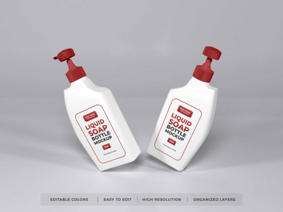 Print on Demand: Liquid Soap Bottle Packaging Mockup PSD Graphic Product Mockups By dendysign