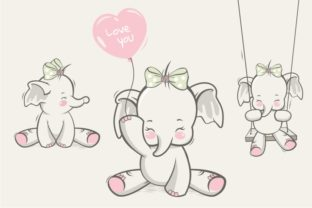 Lovely Cute Happy Elephant for Design Graphic Illustrations By onoborgol