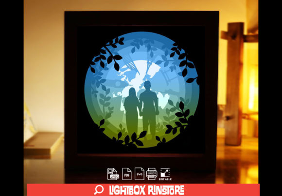 Loving You 3D Paper Cut Light Box Graphic 3D Shadow Box By lightbox.rinstore