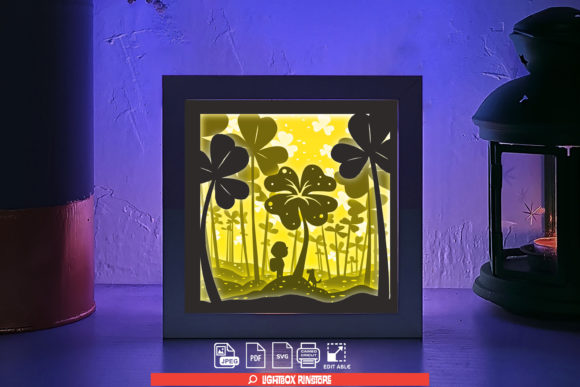 Lucky Clover 3d Paper Cut Light Box Graphic 3D Shadow Box By lightbox.rinstore
