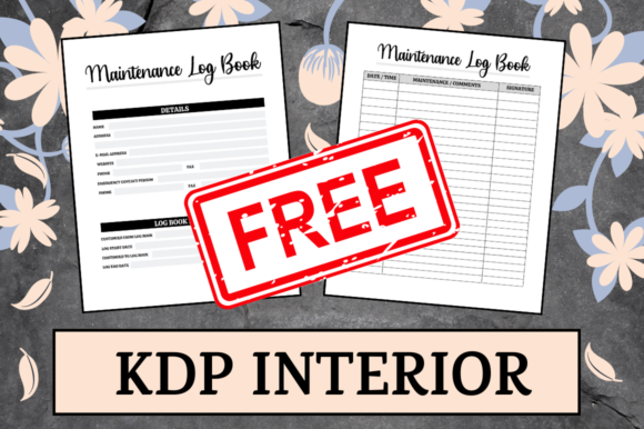 Print on Demand: Maintenance Log Book | KDP Interior Graphic KDP Interiors By Hungry Puppy Studio
