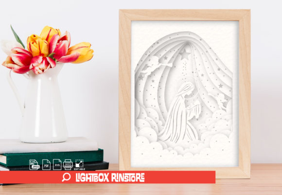 Mother of the Church 3D Paper Cut Graphic 3D Shadow Box By lightbox.rinstore
