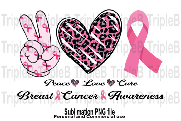 Print on Demand: Peace Love Breast Cancer Sublimation Graphic Crafts By TripleBcraft