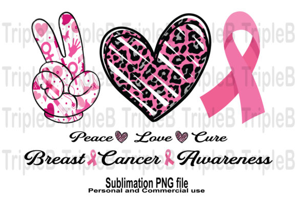 Print on Demand: Peace Love Cure Awareness Sublimation Graphic Crafts By TripleBcraft