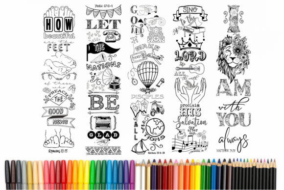 Printable Coloring Bookmarks Set #8 Graphic Coloring Pages & Books Adults By Words Count Designs