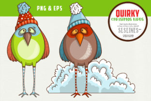 Quirky Christmas Bird EPS & PNG Graphic Illustrations By SLS Lines