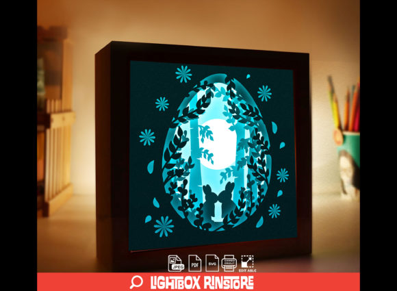 Rabit Bunny 3D Paper Cut Light Box Graphic 3D Shadow Box By lightbox.rinstore