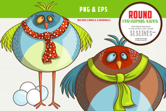 Round Christmas Winter Bird EPS PNG Graphic Illustrations By SLS Lines