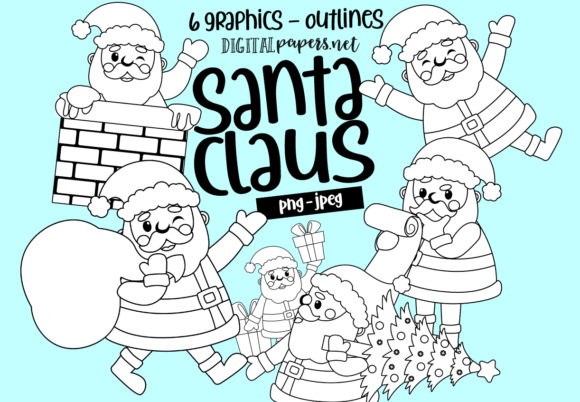 Santa Claus at Work - Outlines Graphic