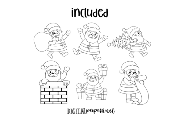 Santa Claus at Work - Outlines Graphic Download