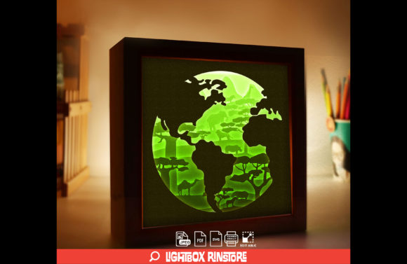 Save Earth 3D Paper Lightbox Template Graphic 3D Shadow Box By lightbox.rinstore