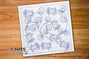 Seamless Pattern of Bluebells Flower Paisley Embroidery Design By Redwork101