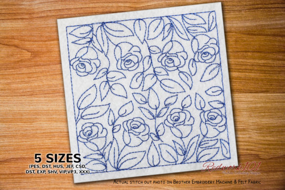 Seamless Pattern with Rose Flower Embroidery
