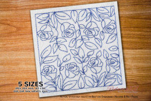 Seamless Pattern with Rose Flower Paisley Embroidery Design By Redwork101