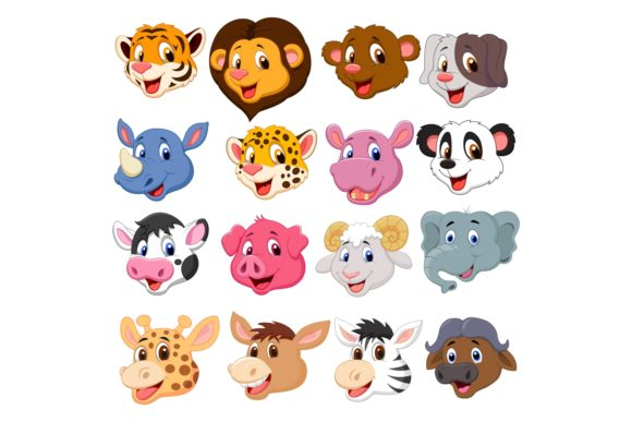Set of Sixteen Cute Head Animals Bundle Graphic Illustrations By tigatelusiji
