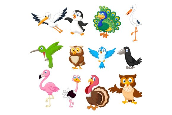 Set of Twenty-three Cute Birds Animals Graphic Illustrations By tigatelusiji