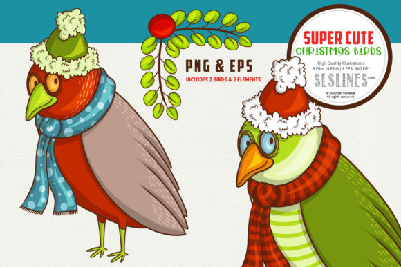 Print on Demand: Shy Cute Christmas Bird PNG EPS Graphic Illustrations By SLS Lines