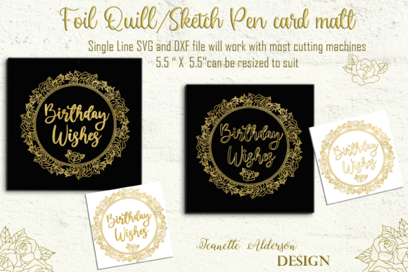 Single Line Foil Quill Rose Wreath Graphic Illustrations By jeanette.alderson