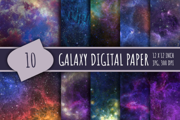 Print on Demand: Space Digital Paper Graphic Textures By bunart
