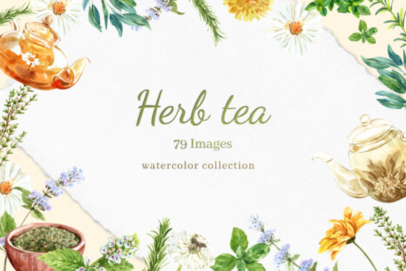 Tea Time with Herbal Tea for Health Graphic Illustrations By WatercolorEps