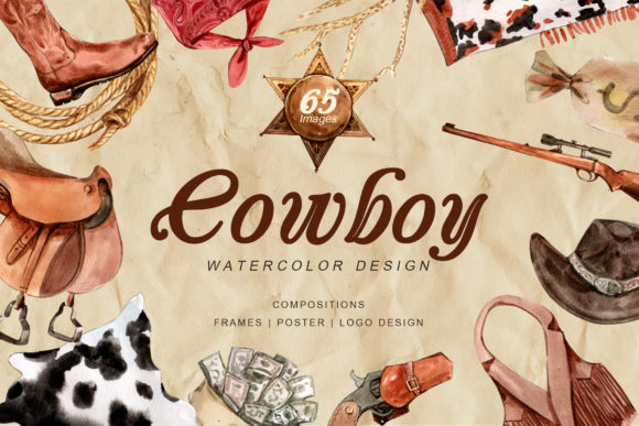 The Story of Cowboy Hero Watercolors Set Graphic Illustrations By WatercolorEps