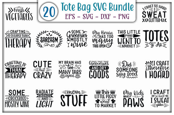 Print on Demand: Tote Bag Design Bundle Graphic Print Templates By GraphicsBooth