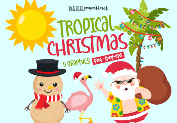 Print on Demand: Tropical Christmas Graphic Illustrations By DigitalPapers