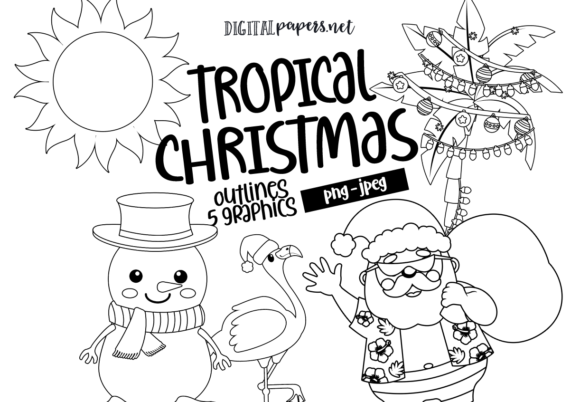 Print on Demand: Tropical Christmas Outlines Graphic Illustrations By DigitalPapers