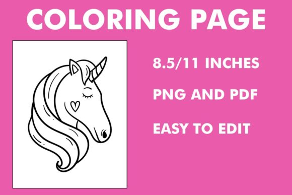 Print on Demand: Unicorn Face Coloring Page - Design Graphic Coloring Pages & Books Kids By Mah Moud