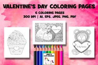 Print on Demand: Valentine's Day Coloring Pages Graphic Coloring Pages & Books By Janet's Cute Designs