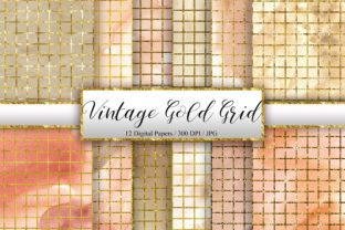 Print on Demand: Vintage Gold Grid Background Graphic Backgrounds By PinkPearly