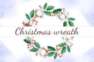 Print on Demand: Watercolor Christmas Wreath with Cotton Graphic Illustrations By JuliaKutsaieva