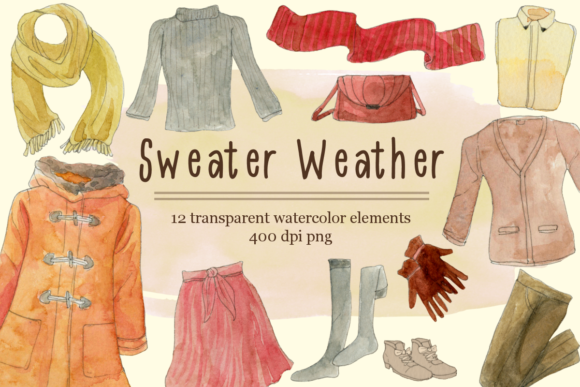 Print on Demand: Watercolor Fall Fashion Clipart Set Graphic Illustrations By roselocket