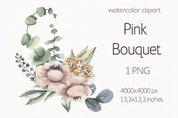 Watercolor Floral Bouquet. Graphic Illustrations By olesiafrolowa