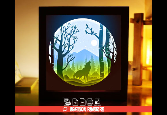 Wolf 3D Paper Cut Light Box Templates Graphic 3D Shadow Box By lightbox.rinstore